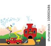 clown firefighter on a firetruck | Shutterstock .eps vector #100002686