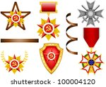 vector set of military objects  ... | Shutterstock .eps vector #100004120