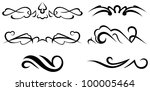 raster version: decorative elements - Elements for design in vintage style to embellish your layout - stock photo