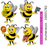 alphabet vector with bees. | Shutterstock .eps vector #10001782