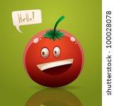 vector happy cartoon tomato | Shutterstock .eps vector #100028078