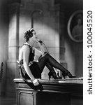 housekeeper sitting on a desk... | Shutterstock . vector #100045520