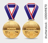 gold vector medals with area to ... | Shutterstock .eps vector #100049870