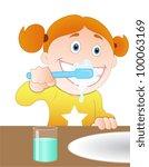 brushing teeth | Shutterstock .eps vector #100063169