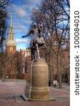 Paul Revere Statue at Paul Revere Mall in Boston, Massachusetts, USA. - stock photo