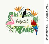 tropical banner frame with... | Shutterstock .eps vector #1000856968