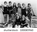 Group of female friends at the beach - stock photo