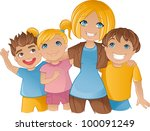 happy young mother with kids | Shutterstock .eps vector #100091249