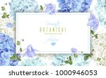Stock vector vector horizontal banner with blue and white hydrangea flowers on white background floral design 1000946053
