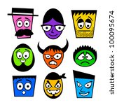Set of funny colorful characters. - stock vector