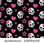 seamless with hearts and skulls....