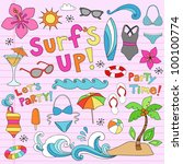 hawaiian surf's up summer... | Shutterstock .eps vector #100100774