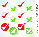 vector check mark stickers | Shutterstock .eps vector #100115960