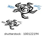turtle in ocean water in tribal ... | Shutterstock .eps vector #100122194