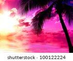 sunset beach | Shutterstock . vector #100122224