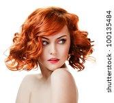 Beauty Portrait. Curly Hair On...