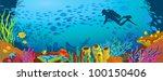 Colored Coral Reef With Fish...