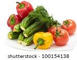 fresh vegetables on white plate | Shutterstock . vector #100154138