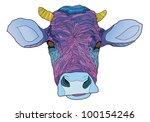Psychedelic Cow   Vector...