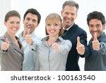 happy business people cheering... | Shutterstock . vector #100163540