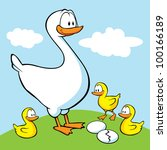 Goose With Goslings And Eggs O...