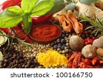 herbs and spices selection.... | Shutterstock . vector #100166750