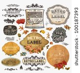 vector set  vintage labels with ... | Shutterstock .eps vector #100187393