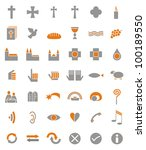 42 christian icons as icon ... | Shutterstock . vector #100189550