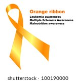Orange ribbon. Leukemia awareness. Multiple Sclerosis Awareness. Malnutrition awareness.