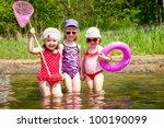 Three Little Cute Girls Go In...