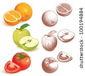 orange  apple  tomato. vector... | Shutterstock .eps vector #100194884