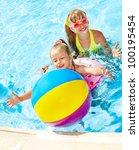 little girl  swimming in pool. | Shutterstock . vector #100195454