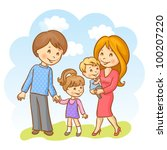happy family on the sky... | Shutterstock .eps vector #100207220