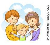 happy family on the sky... | Shutterstock .eps vector #100207223