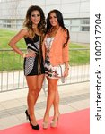 Small photo of Layla Flaherty and Elissa Corrigan (Desperate Scousewives) arrives for Essex Fashion Week SS12 at CEME Conference Centre, Dagenham, London. 09/04/2012 Picture by: Steve Vas / Featureflash