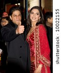 Shah Rukh Khan and Deepika Padukoneat the Bollywood Film premiere of Om Shanti Om in London - stock photo