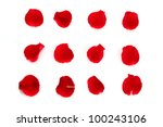 Stock photo red rose petals on the white background 100243106