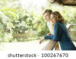 side view of a young couple on... | Shutterstock . vector #100267670