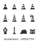 traffic warning sign icon set... | Shutterstock .eps vector #100267793
