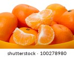 Heap of tangerines isolated on a white background - stock photo