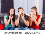 friends   a man an two women  ... | Shutterstock . vector #100293743