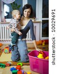 young woman with baby boy... | Shutterstock . vector #10029691