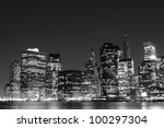 manhattan skyline at night  new ... | Shutterstock . vector #100297304