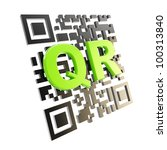QR code technology illustration icon isolated on white - stock photo