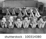 portrait of young women in row... | Shutterstock . vector #100314380