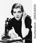 portrait of woman on telephone... | Shutterstock . vector #100316033
