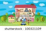 illustration on inside a house | Shutterstock .eps vector #100321109