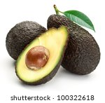 Small photo of Brown avocado with avocado leaves on a white background. Variety of avocado - Lamb Hass.