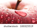 Red Wet Apple With Big Droplet  ...