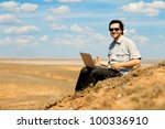 happy man with laptop on the... | Shutterstock . vector #100336910